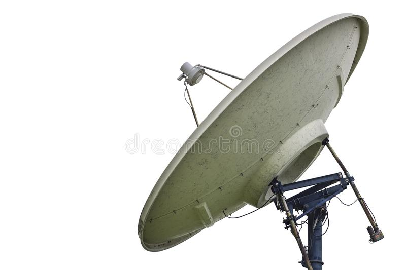 High technology satellite dish isolated on white background with clipping path royalty free stock photo