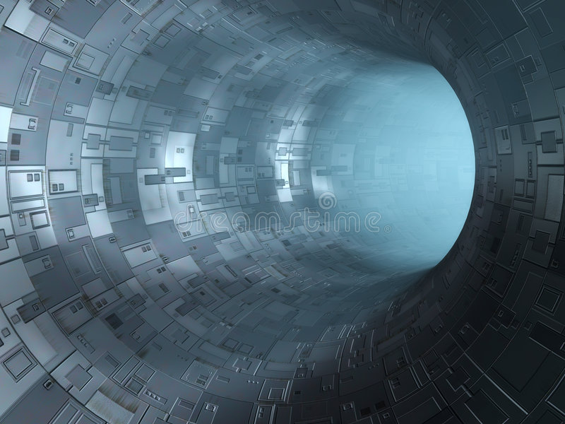 High technology tunnel. 3D image stock illustration