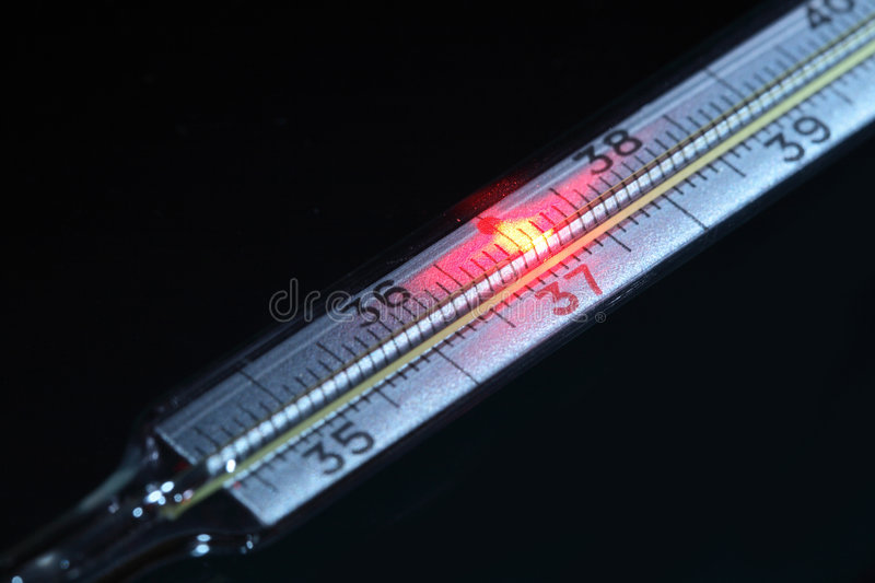 High temperature. Celcius thermometer with red fire point near thirty seven numeral stock photo