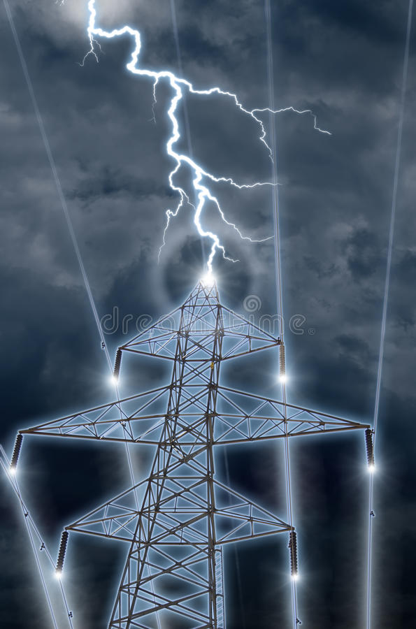 High Tension. An photographic illustration of lighning hitting a high tension tower and sending energy coursing down the wires royalty free stock photos