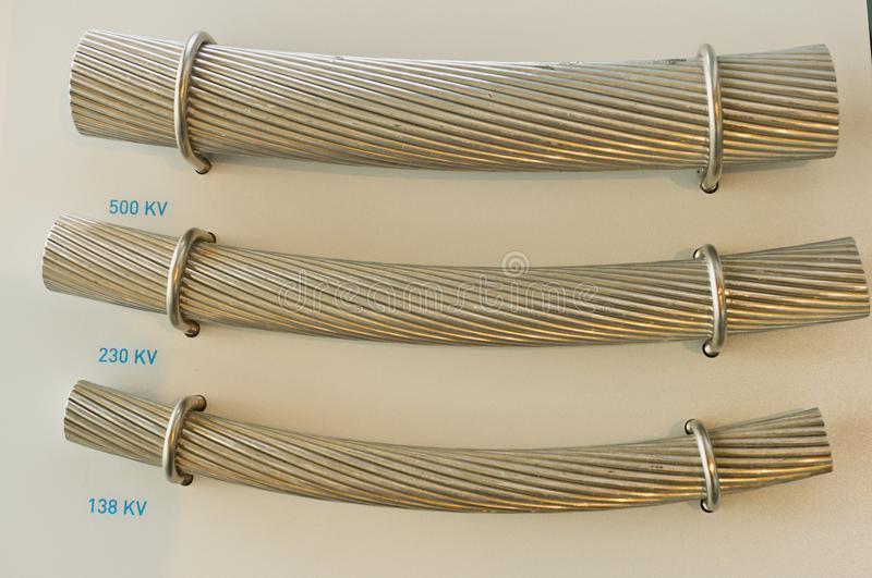 High tension power line cable samples royalty free stock photography