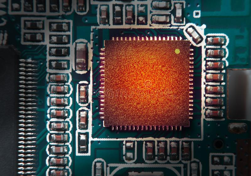 High thermal of Chipset on electronic circuit board. Chipset wit. H blank surface for writing texts or phrase as needed stock photos