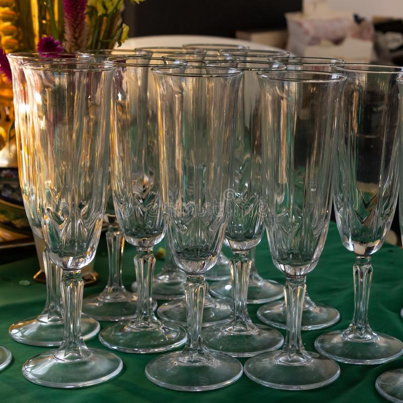 High thin glass set champagne celebration transparent design background royalty free stock image