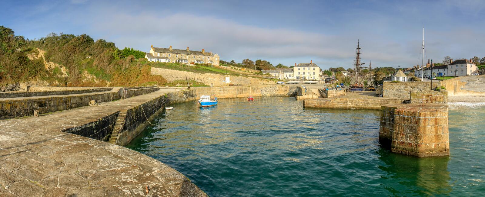 High Tide, Charlestown Harbour, Cornwall. With views of tall ships and holiday cottages royalty free stock photography