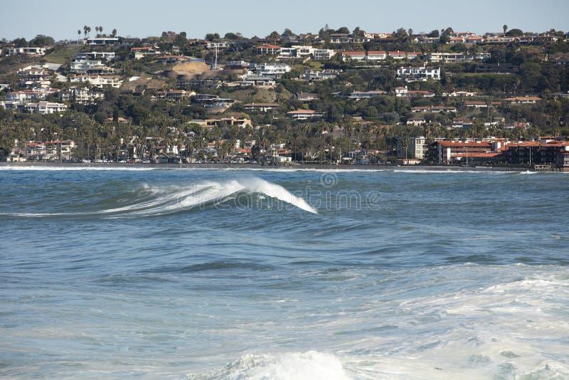 High Tide Coastal Waves Hitting The La Jolla California Shore Stock