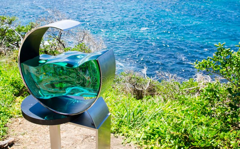 ` High tide ` is a sculptural artwork by Tsukasa Nakahara at the Sculpture by the Sea annual events free to the public sculpture. SYDNEY, AUSTRALIA. – On royalty free stock photos