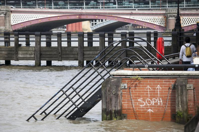 the high tide at South bank in London royalty free stock images