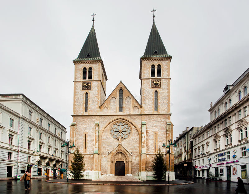High towers of the catholic Cathedral stock photos