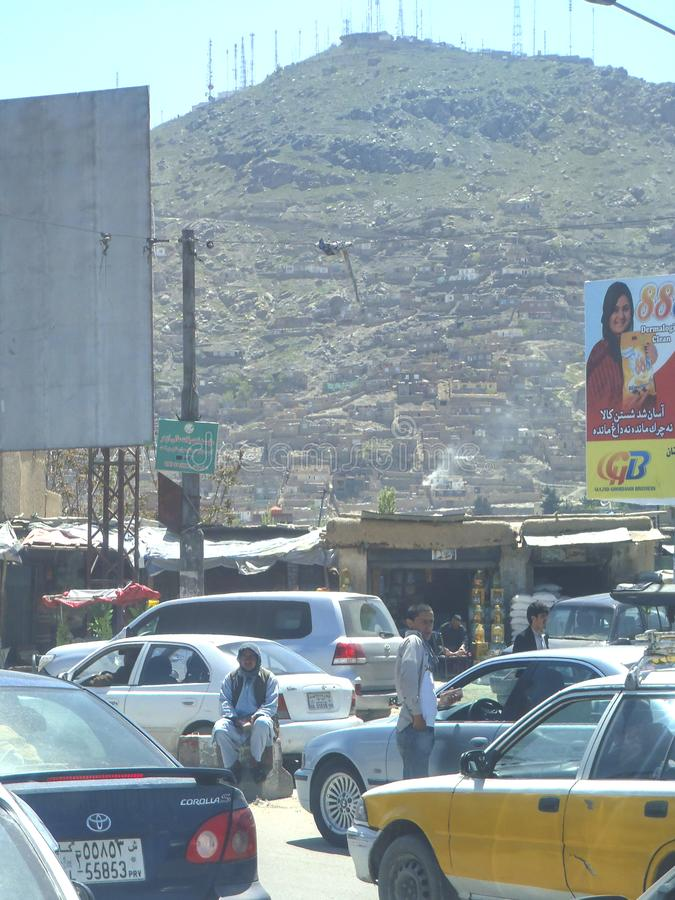 High traffic jam on the road in Kabul city, Afghanistan. Traffic jam is normally happen in the city and Kabul has the issue for acute jam and increase stock photos