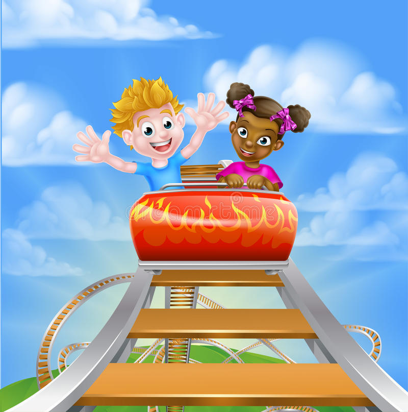High up on the Roller Coaster. Cartoon boy and girl riding on a roller coaster ride at a theme park or amusement park stock illustration