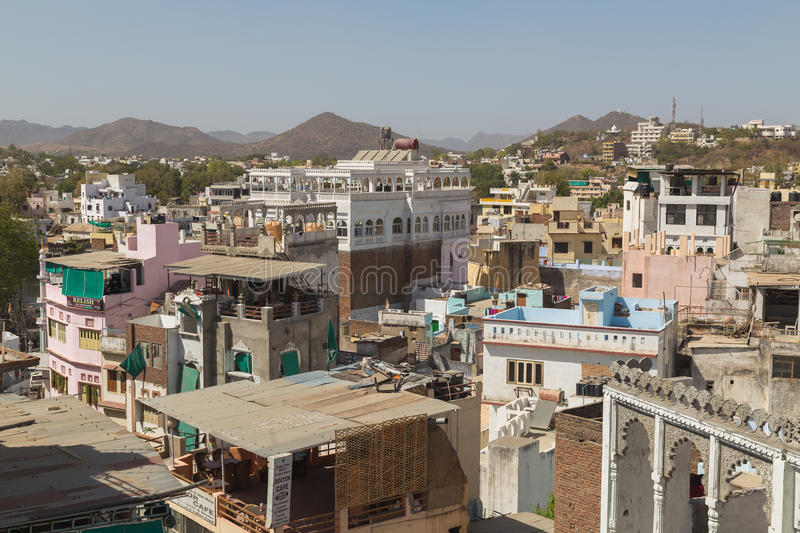 High view of buildings in Udaipur, India stock image