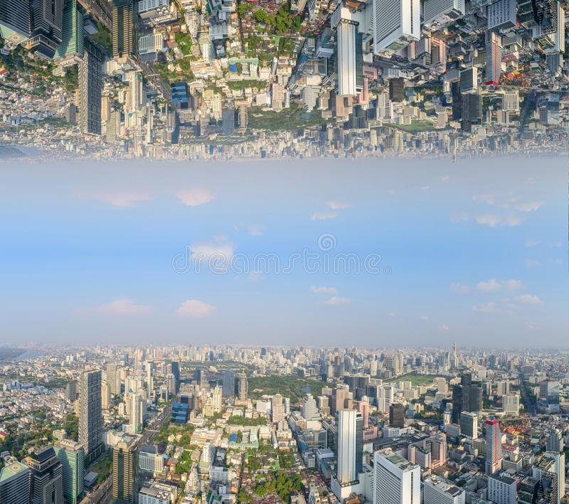 High view of the city with invert side. Process style royalty free stock images