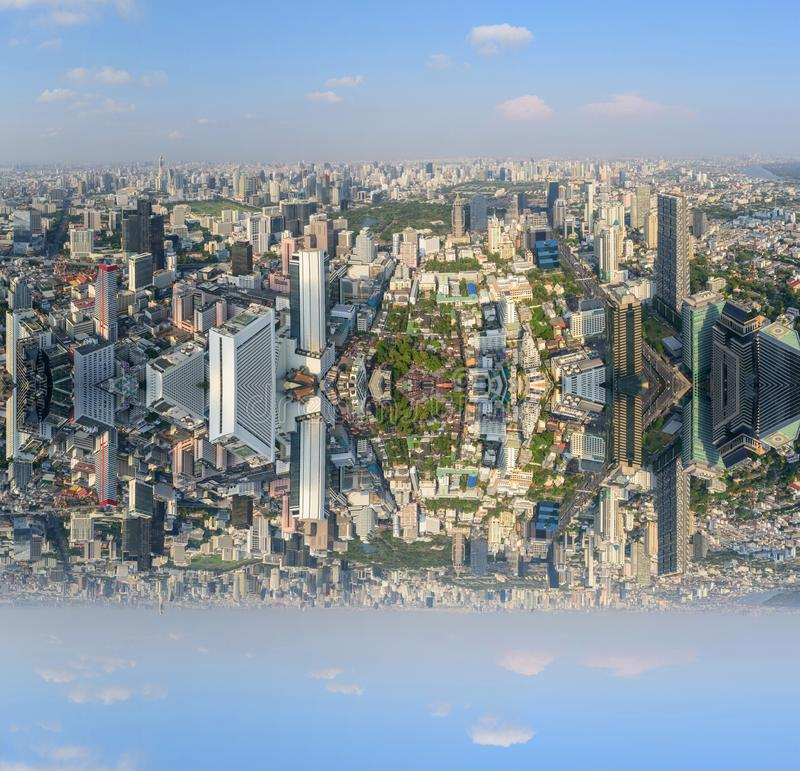 High view of the city with invert side. Process style stock photo