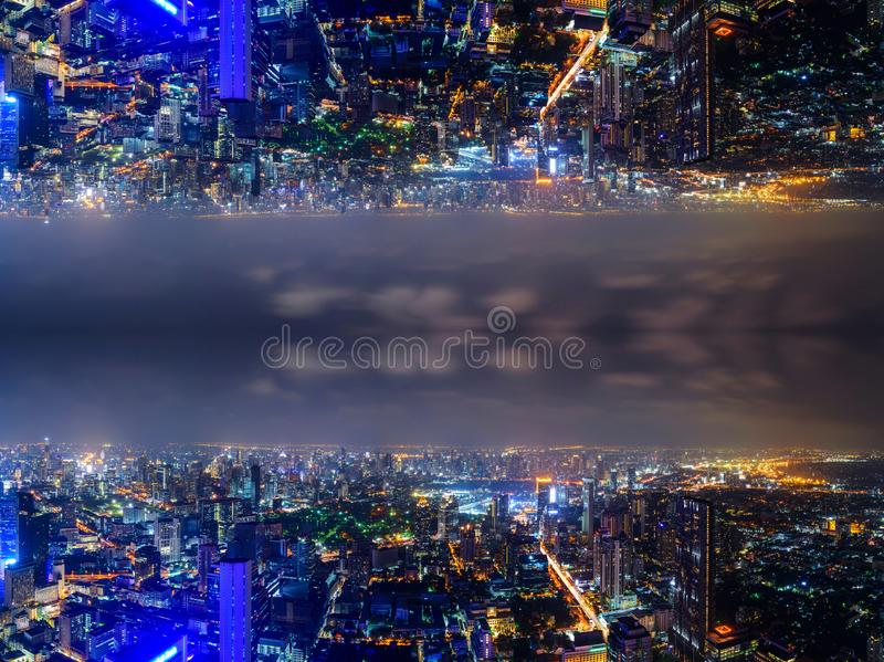 High view of the city with invert side process style. High view of the city night time with invert side process style stock images