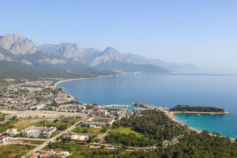 High view of the city of Kemer in Turkey and the Mediterranean sea moonlight Bay and port.  royalty free stock image