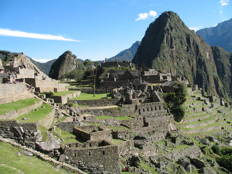 High view down on Machu Picchu ancient city ruins royalty free stock image