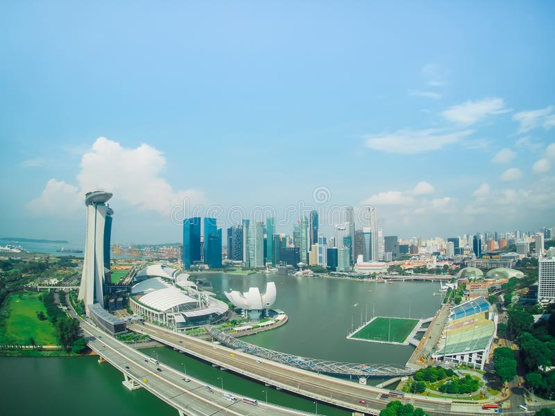 High and view of modern city scape and high building from ferris royalty free stock photos