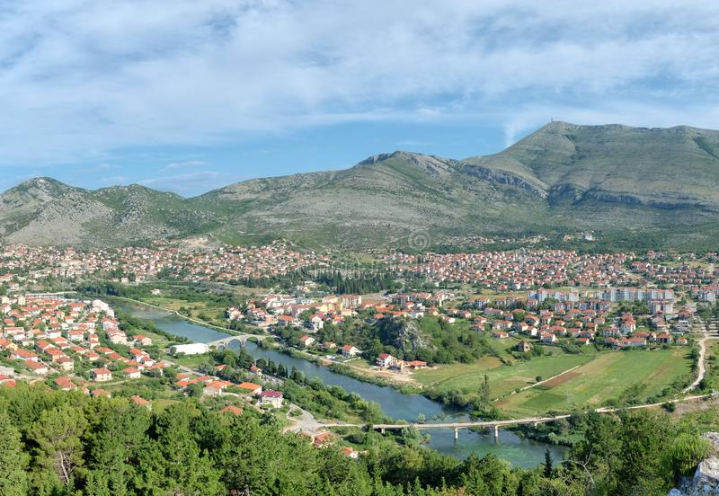 High View On Trebinje Town And Valley Of Trebisnjica River stock photo