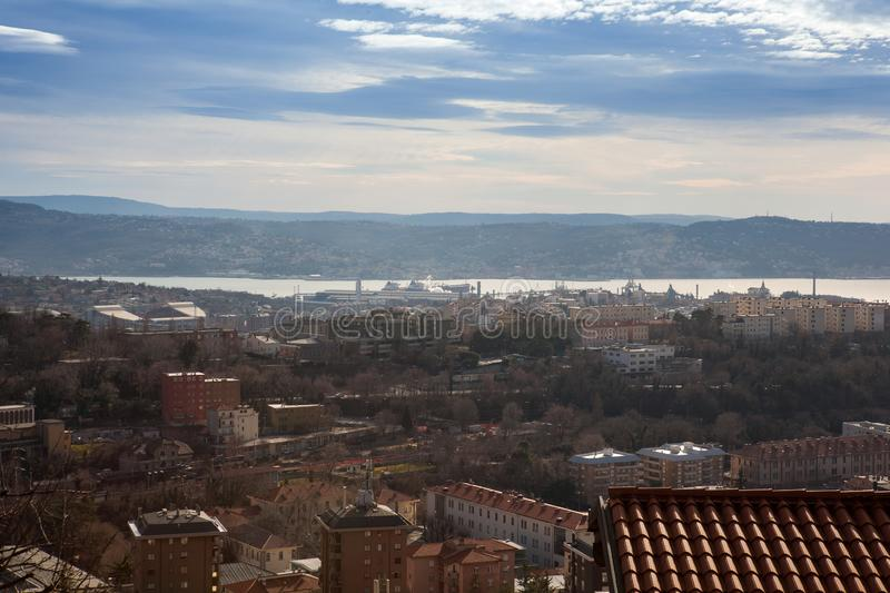 High view of Trieste stock photo