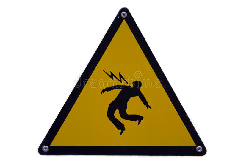 High voltage!. Warning sign for high voltage and dangerous risk royalty free stock photo
