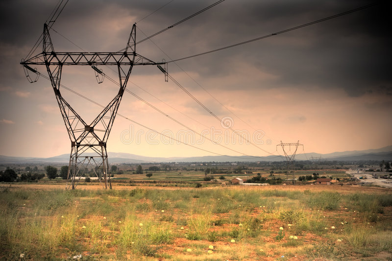 High voltage. Power line in Macedonia stock photos