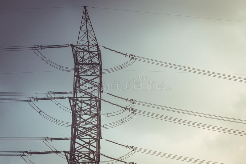High voltage cable power post steel tower pylons stock images