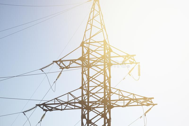 High voltage cable power post steel tower royalty free stock image
