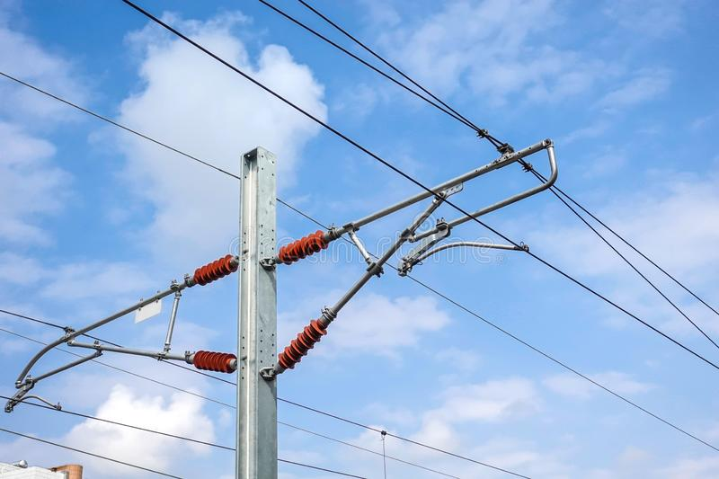 High voltage electric cable frame of high speed railway royalty free stock images