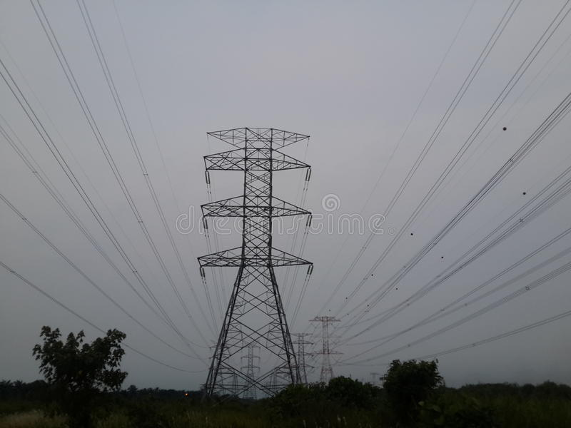 High voltage electric cable stock photography