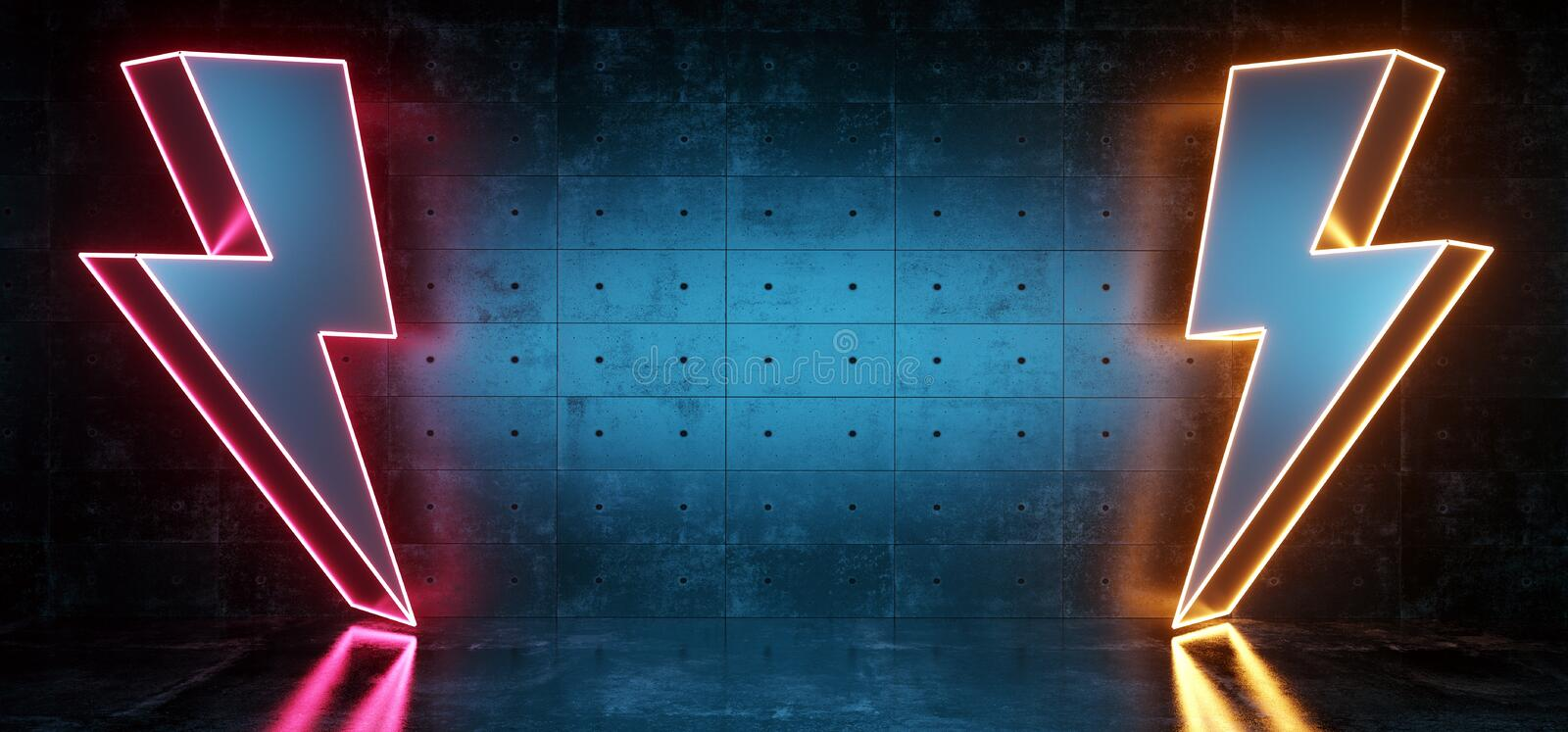 High Voltage Electric Neon Glowing Thunder Bolt Shapes Sci Fi Futuristic Modern Dark Background Grunge Concrete Room Empty Space stock illustration