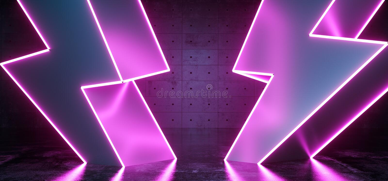 High Voltage Electric Neon Glowing Thunder Bolt Shapes Sci Fi Futuristic Modern Dark Background Grunge Concrete Room Empty Space vector illustration