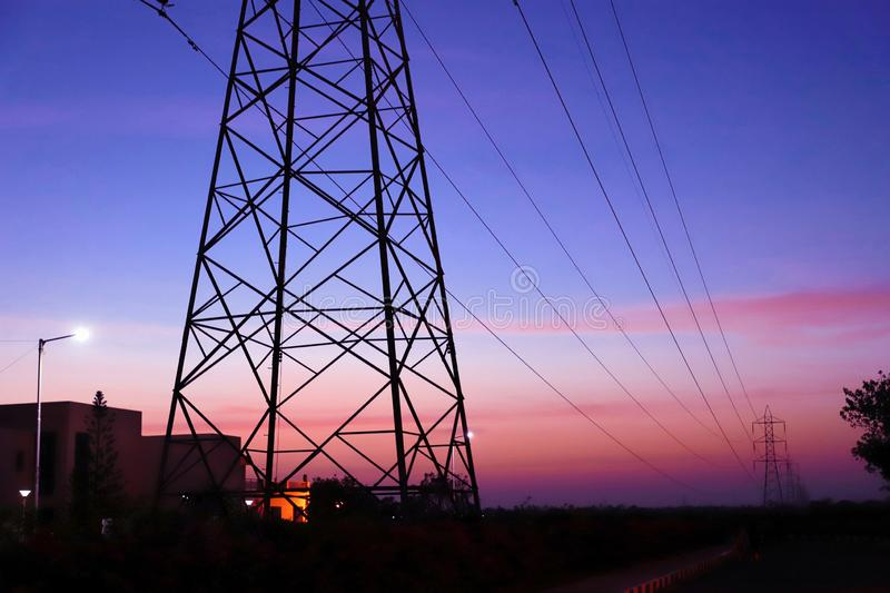 High voltage electric pole, electric pole royalty free stock photography
