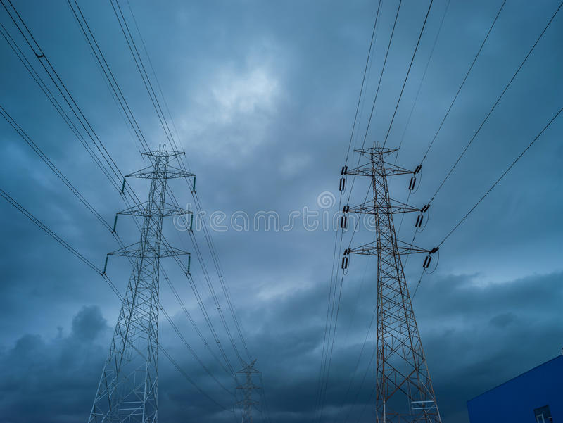 High voltage electric pole in rain storm. Series of element of high voltage electric pole in rain storm when the rain storm come stock photography