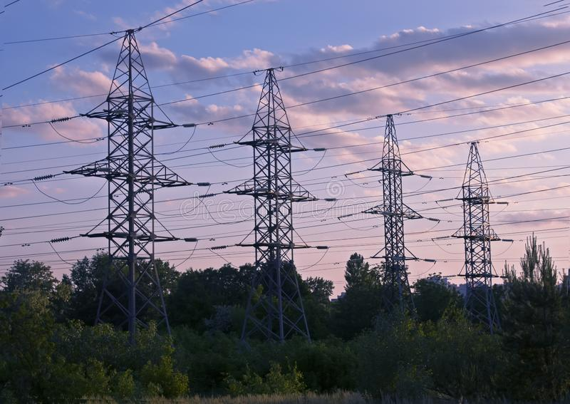 High voltage electric poles. Power lines royalty free stock photo