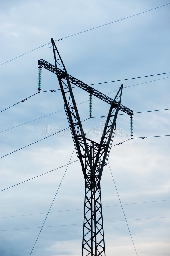 High-voltage electric post royalty free stock image