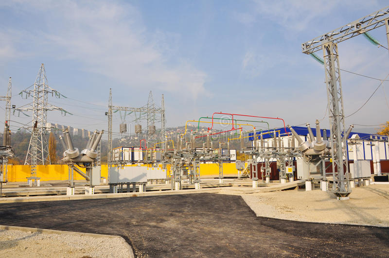 The high-voltage electric substation royalty free stock photo