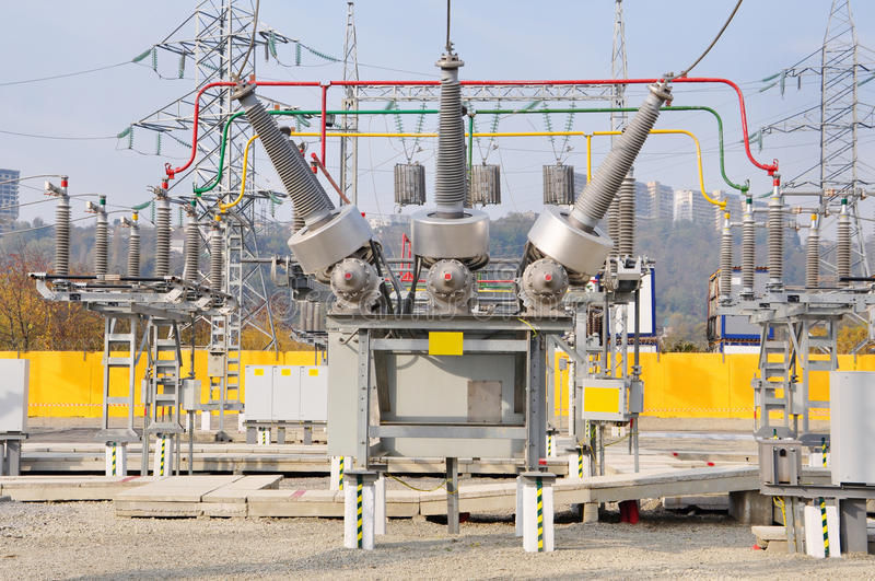 The high-voltage electric substation stock photo