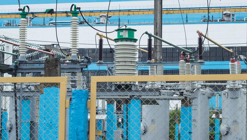 High voltage electric transformer station, power station royalty free stock photography