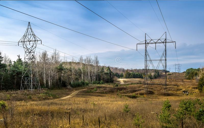 High Voltage Electrical Transformer Towers. Wires rn stock photography
