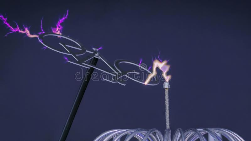 High-voltage experiment with Tesla coil stock image