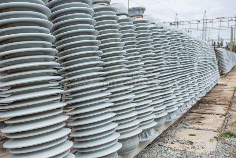 High voltage insulators stock image