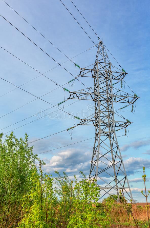 High voltage line and blue sky stock image
