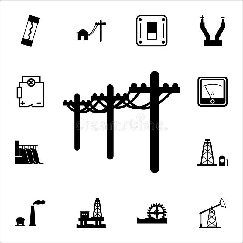High Voltage Line, Electric Poles Icon. Set Of Energy Icons. Premium ...