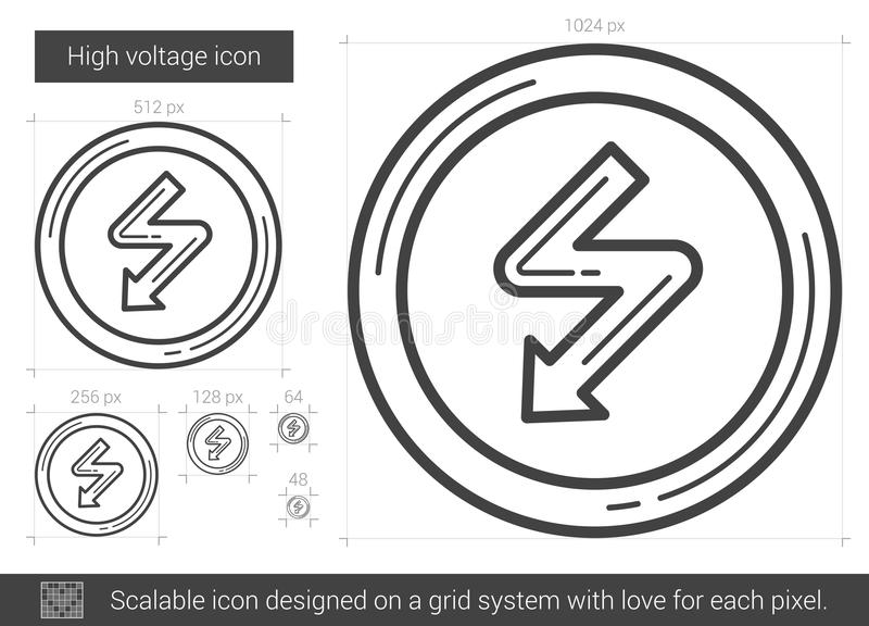 High voltage line icon. stock vector. Illustration of light - 80694618