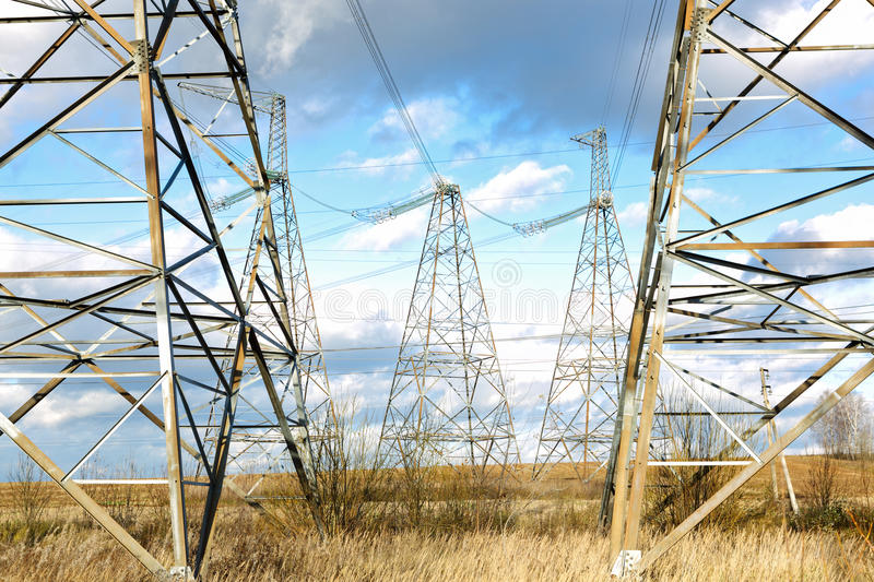 Download High-voltage Line In The Sky Stock Photo - Image: 27564990