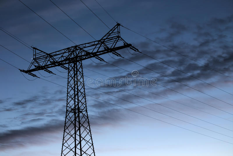 High Voltage Line At Sundown royalty free stock photography