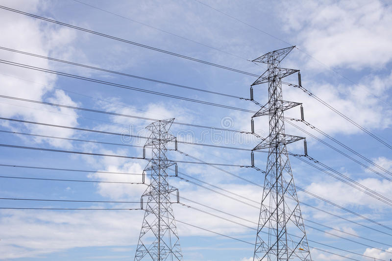 Download High voltage lines. stock image. Image of electric, distribution - 25414337