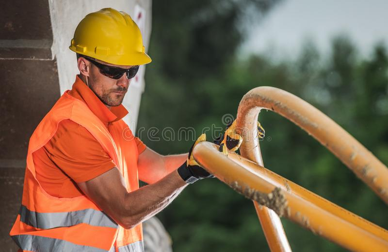 High Voltage Pipe Install stock photo