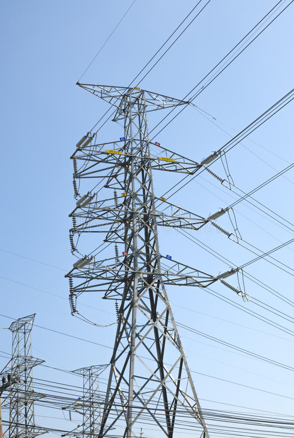 High Voltage Pole In The Morning. Stock Photo - Image of metal ...