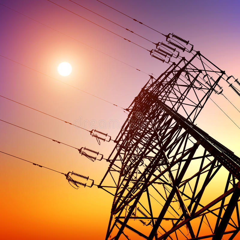Download High voltage post stock image. Image of pole, plant, evening - 22450133